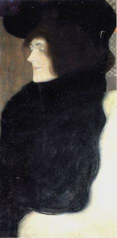 Gustav Klimt (Austrian, 1862-1918) , Pale Face, 1907. Oil on canvas.