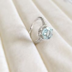 Natural Faceted Round AquaMarine 14k Solid White Gold with Diamond Antique Shoulders and Floral Halo Basket Setting 1.8 CTTW