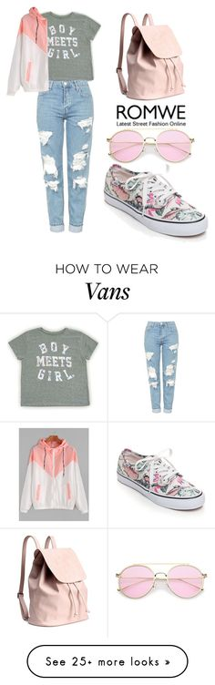 """ROMWE Jacket"" by tania-alves on Polyvore featuring Topshop and Vans"