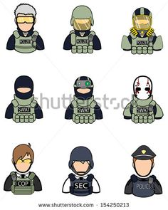 Soldier military and police cop half body model dummy in special force uniform icon collection set 2, create by vector