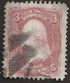 US 19th Century # 65 - 3¢  George Washington -  Bright Rose Used FAULT #ADA