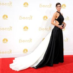 The Best Dressed Celebs At The Emmys #refinery29 Lizzy Caplan the Masters of Sex siren wore a Donna Karan Atelier creation
