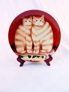 "Martin Leman Cat Plate ""Francesca and Gordon"" Vintage Collectible 1970s"