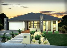 Photo of a brick house exterior from real Australian home - House Facade photo 1315415 Brick Facade, Facade House, House Facades, House Landscape, Landscape Design, Front House Landscaping, Landscaping Ideas, Mcdonald Jones Homes, Modern Front Yard