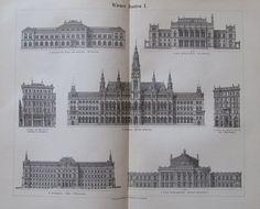 1897 WIENER BAUTEN I. und II. 2 Original Drucke Antique Prints Lithographie