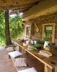 Outdoor Rooms, Outdoor Dining, Outdoor Tables, Outdoor Furniture Sets, Outdoor Decor, Woodlands Cottage, Rest House, Log Cabin Homes, French Country Cottage