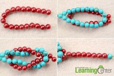 Make basic turquoise and pearl bracelet