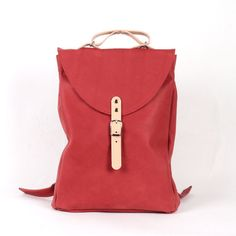 Red small leather backpack rucksack / To order van kokosina op Etsy