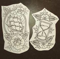 Trendy Tattoo Old School Nautic Tat 58 Ideas - Tattoo-Ideen - Tatuajes Leg Tattoos, Body Art Tattoos, Tattoo Drawings, Sleeve Tattoos, Nature Tattoos, Tattoo Ink, Arm Tattoo, Traditional Tattoo Outline, Traditional Tattoo Hourglass