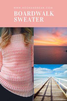 Favorite Crochet Ideas Boardwalk Sweater - Hook and Bean Crochet Shirt, Crochet Cardigan, Crochet Yarn, Easy Crochet, Crochet Stitches, Crochet Patterns, Crochet Summer, Crochet Sweaters, Free Crochet