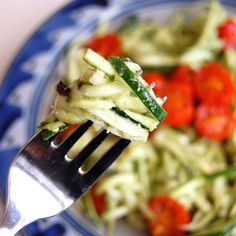 "Easy ""Pasta"" with Zucchini Noodles- this super healthy ""pasta"" recipe is one of my family's favorites. They can't get enough of it!"