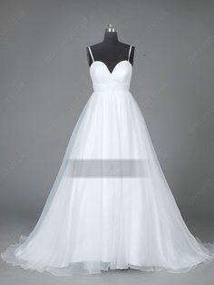 White Draped Beach Wedding Dress
