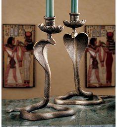 Beautiful Uraeus Royal Egyptian Cobra Foundry Iron Candlesticks...have Them, Love  Them.
