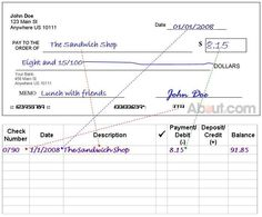 example of check register