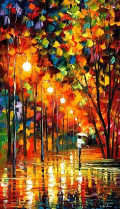 In The Rain Painting Orange Wall Art By Leonid Afremov - Long Alley. Size: X Inches - -Walking In The Rain Painting Orange Wall Art By Leonid Afremov - Long Alley. Size: X Inches - - Rain Painting, Oil Painting On Canvas, Painting Trees, Knife Painting, Painting Gallery, Painting Abstract, Orange Wall Art, Art Watercolor, Oil Painting Reproductions