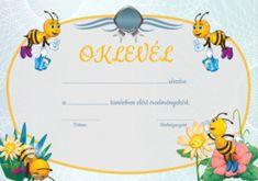 Diplomă pentru preșcolari cu albinuțe