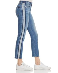 7 For All Mankind Edie Stripe Straight Leg Jeans in Bright Houston - Exclusive Women - Jeans & Denim - Straight - Bloomingdale's Simple Outfits, Casual Outfits, Altering Clothes, Pants For Women, Clothes For Women, Light Wash Jeans, Cropped Jeans, Diy Clothes, Blue Denim