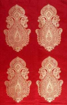 Indian Fabric Patterns   red_banarasi_handwoven_brocade_fabric_with_auspicious_kg29.jpg