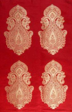 Indian Fabric Patterns | red_banarasi_handwoven_brocade_fabric_with_auspicious_kg29.jpg