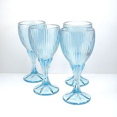 "Ice Blue Glass Wine Goblets, Fostoria ""Monet"" Pattern, 6 oz Capacity, Set of 4, Vintage 1980s Glassware, Barware"