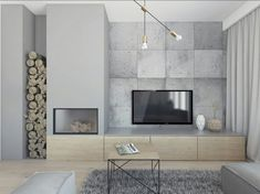 kominek z drewnem obok tv - Claudia Walter - Wohnmöbel Home Fireplace, Modern Fireplace, Living Room With Fireplace, Fireplace Design, Condo Living, New Living Room, Living Room Decor, Dining Room, Home Decor Furniture