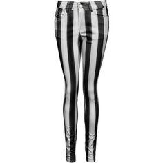 Black and White Thick Stripe Denim Jean