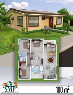 Cute and cozy. I might upgrade the bathrooms a little. Add vanities instead of pedestal sinks. But, overall this would be an awesome downsized 'age in place' home. especially the inner TV /gaming lounge 3d House Plans, Model House Plan, House Layout Plans, Bedroom House Plans, Dream House Plans, Small House Plans, House Layouts, Small Space Interior Design, Small House Design
