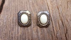 80's Vintage Crest Earrings With White Cabochon by ShareableSecrets on Etsy