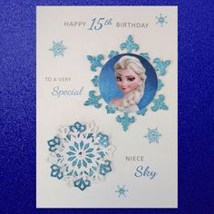 Personalised Handmade Frozen Birthday Card Elsa - A5 Size                                                                                                                                                                                 More