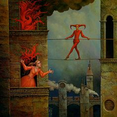 Der letzte Zug (The last train) by Michael Hutter, oil on wood, 60 x 60 cm, 2007