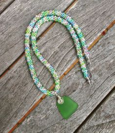 Kumihimo Beaded Necklace with Sea Glass Focal by ChuraumiSeaGlass