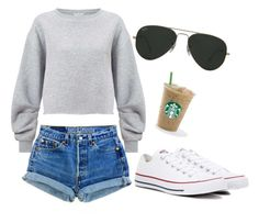 """Outfit 4"" by cynthiahu2003 on Polyvore featuring Miss Selfridge, Converse and Ray-Ban"
