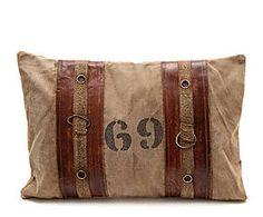 Coussin coton et cuir, naturel - L60