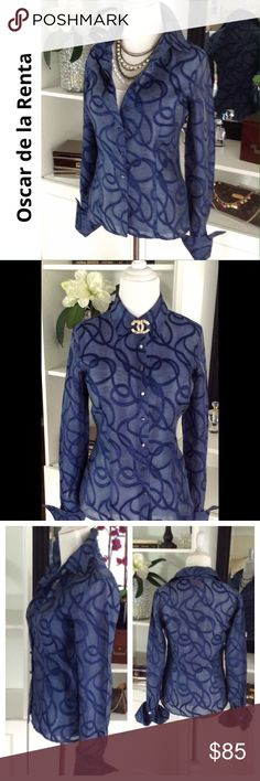 "OSCAR DE LA RENTA stunning top This O by Oscar de la Renta top is an upscale, semi sheer top w/ a swirl print that looks like pretty grosgrain ribbon woven in. Wear w/ cami as shown or more daring w/a pretty bra showing thru.Large French cuffs add to the sophisticated couture look! Fabric content tag is missing but appears to be a silk taffeta. Great condition. See comment feed for more info. Approx measurements laying flat: shoulder to shoulder:15""/armpit to armpit: 18…"