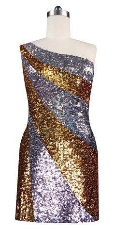 2f47bb8fd144 Short patterned dress in metallic silver and gold sequin spangles fabric in  a one-shoulder. SequinQueen.com