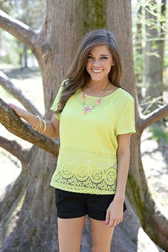 """This lacy lime top is here just in time for spring! Are you digging it as much as we are!? :) Fits true to size. Miranda is wearing the small. Shoulder to hem:  S - 23"""" M - 23"""" L - 23.5"""""""