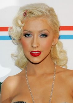 blond - red lipstick