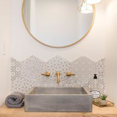 A Native Trails Nipomo sink spotting! Design by Lihi Shabtai Interior Design - concrete sink - concrete vessel sink