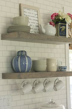floating shelves  http://jennasuedesign.blogspot.com/2014/03/kitchen-chronicles-diy-floating-rustic.html
