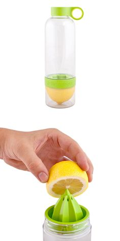 Citrus-infusing water bottle - I need this in my life, I drink lemon water all day every day Things To Buy, Things I Want, Good Things, Gadgets And Gizmos, Cool Gadgets, Chefs, Take My Money, Cool Inventions, Lemon Water