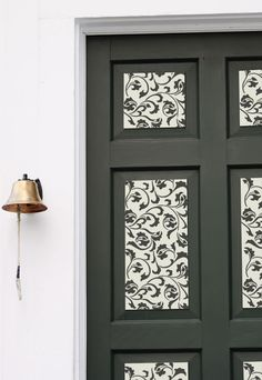 Furniture stencil on raised panel doors in black and white | Furniture Stencils | Small Scrollallover | Royal Design Studio