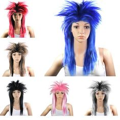 80S Ladies Glam Punk Rock Rocker Chick Tina Turner Wig Fancy Dress Party Costume