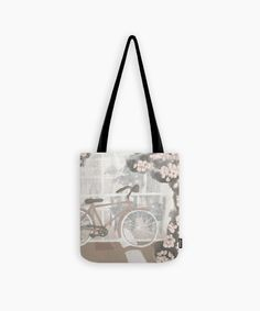 Botanical and travel inspired tote bag Christmas gift for her. Modern high quality floral shopping/ gym bag in earthy neutral tones, beige dusty pink terracota red depicting the Town of Nafplio in Greece and the bugambilia flower. Christmas Bags, Christmas Gifts For Her, Cute Presents, Gifts For An Artist, Printed Tote Bags, Neutral Tones, Dusty Pink, Earthy, Gym Bag