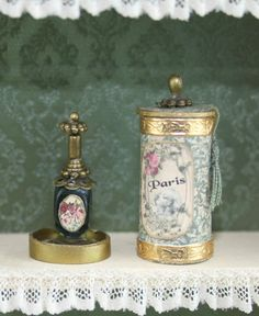 French Ladys perfume in a round historic box OOAK door Scarletts45
