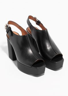 & Other Stories   Chunky Heeled Sandals   Black