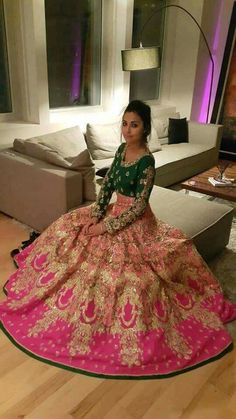 Pink and green combination bridal lehenga for wedding day