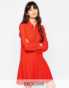Le Kilt for ASOS Zip Pleat Dress With Collar