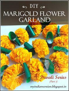 Colorful DIY Flower Garland My Indian Version Diwali Series Part 1 Diy Marigold Flower pertaining to ucwords] Diwali Craft, Diwali Diy, Diy Diwali Decorations, Flower Decorations, Wedding Decorations, Paper Flower Garlands, Paper Flowers, Calendula, Flower Crafts