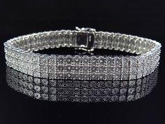 "Mens Ladies White Gold Finish Round Cut Real 3 Row Genuine Diamond Bracelet 7"" #OmegaJewellery #Tennis"