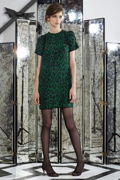 Emerald Leopard Print Silk Dress
